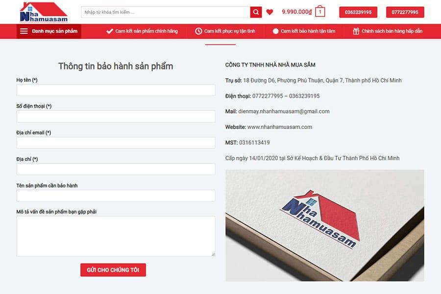 ĐKTV Điền thông tin bảo hành sản phẩm
