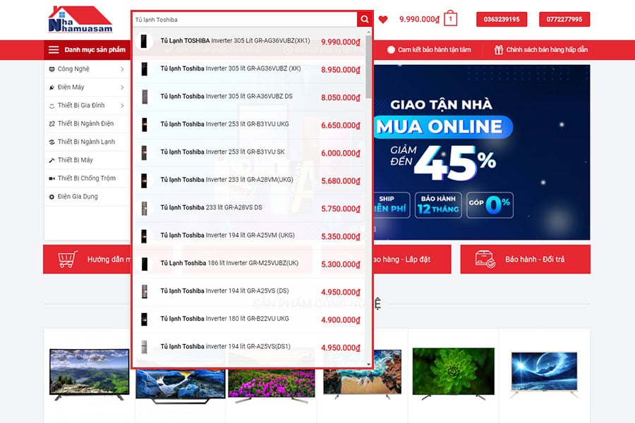 ĐKTV Tìm thông tin sản phẩm