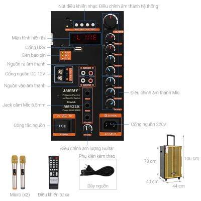 Loa kéo Karaoke Jammy AM4218 600W 1