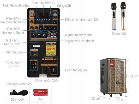 Loa kéo Karaoke Nanomax S-1000 450W 1