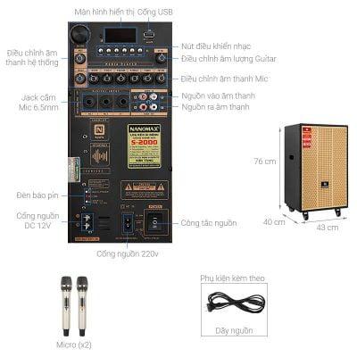 Loa kéo Karaoke Nanomax S-2000 680W 1