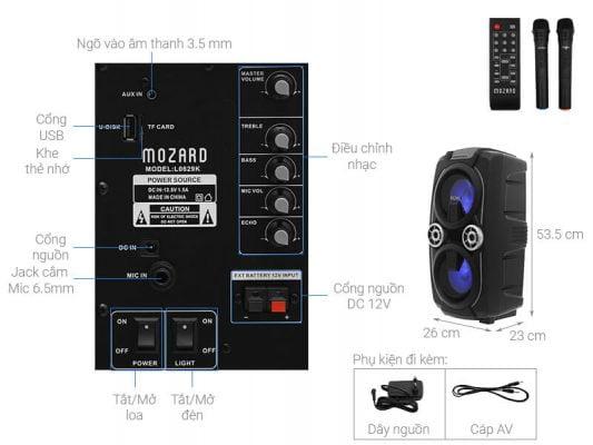 Loa Kéo Bluetooth Mozard L0629K Đen Xám 1