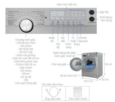 Máy giặt Midea Inverter 8.5 Kg MFK85 1401SK 1