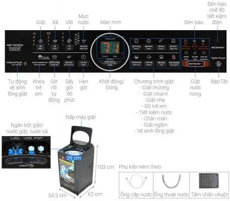 Máy giặt Panasonic Inverter 9.5 Kg NA FD95V1BRV 1