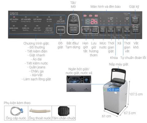 Máy giặt cửa trên Samsung WA10T5260BY SV 1