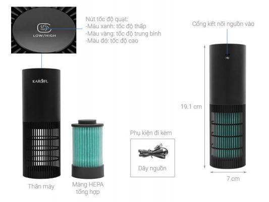 Máy lọc không khí mini Karofi KAP C123 1