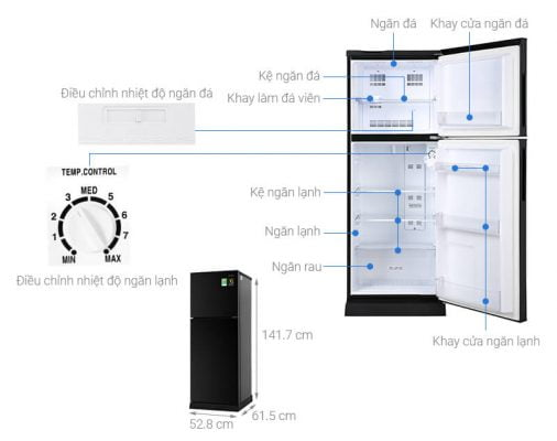 Tủ lạnh Aqua Inverter 186 lít AQR T219FA PB 1